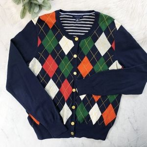 Tommy Hilfiger Argyle Plaid Stripe Button Cardigan